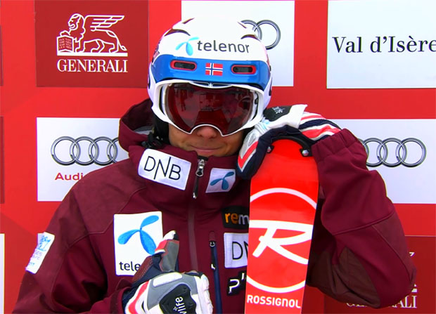 Henrik Kristoffersen nach dem 1. Slalom-Durchgang in Val d'Isere in Führung