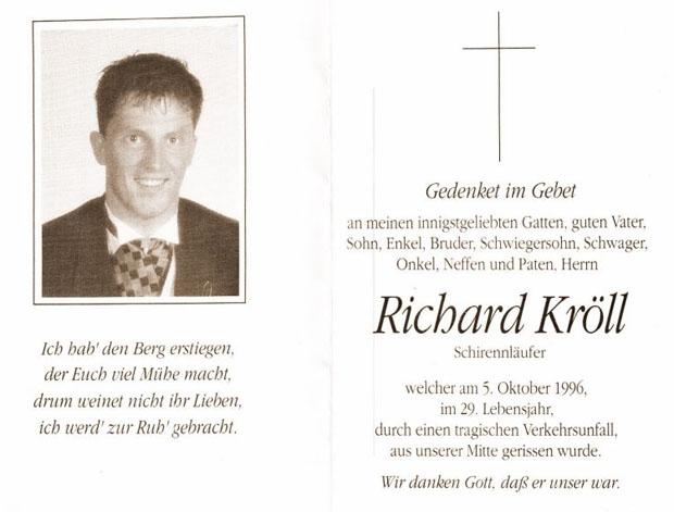 Sterbebild Richard Kröll (© C. Schwemberger)