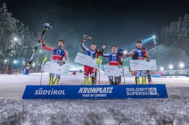 FIS Europacup Kronplatz 2019 Men's Podium. Von links Adrian Meisen (GER), Pirmin Hacker (AUT), Thomas Dorner (AUT), Fabian Himmelsbach (GER) (Foto: © Dennis De Martin)