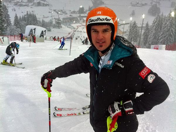 © Hujara Manuel / Matthias Lanzinger (SBG) beim Weltcupslalom in Flachau als Vorläufer (Jänner 2012)