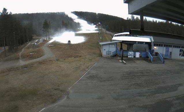 Noch ist der Weltcuphang in Levi teilweise grün (Foto: www.levi.fi)