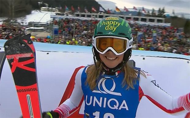 Nach einer entfesselten Fahrt landet Katharina Liensberger auf dem vierten Platz