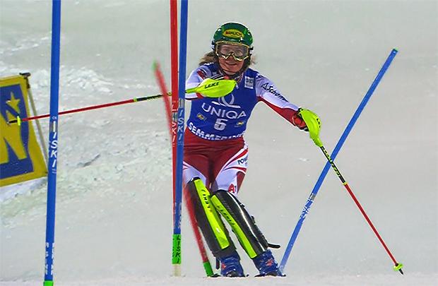 Katharina Liensberger feierte beim Slalom am Semmering ihre beste Weltcupplatzierung.
