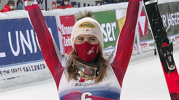 Katharina Liensberger in Flachau knapp am Sieg vorbei