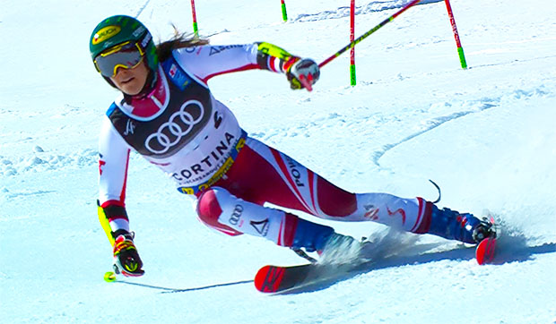 Parallel-Weltmeisterin Katharina Liensberger blieb im heutigen Teambewerb ohne Medaille.