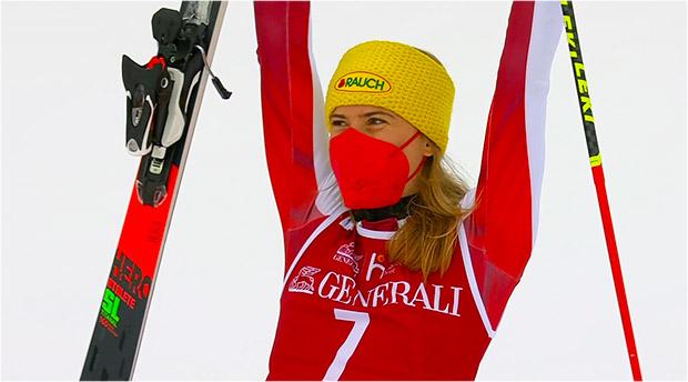 Katharina Liensberger feiert ersten Weltcupsieg ihrer Karriere beim Slalom in Are