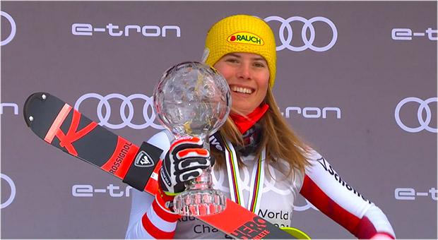 Katharina Liensberger ist bereit für den Ski Weltcup Auftakt in Sölden.