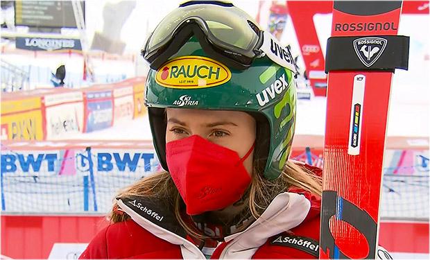 Platz sechs für Katharina Liensberger beim Riesenslalom Kehraus in Lenzerheide