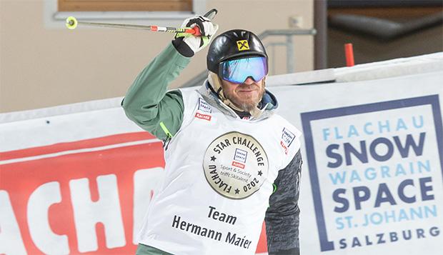 Hermann Maier begrüßte die Fans bei der Star Challenge in Flachau als Vorläufer. (©Skiweltcup Flachau/wildbild)
