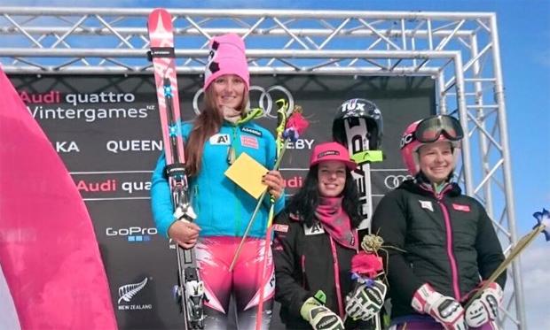 ÖSV Sieg im heutigen GS der Wintergames. Chiara Mair gewinnt, Stephanie Brunner wird 3. (Foto: ÖSV Ladies Skiteam Austria)