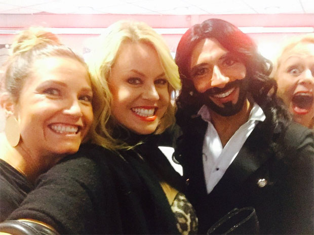 Julia Mancuso, Chemmy Alcott und Conchita Wurst (Foto: Twitter/Julia Mancuso)