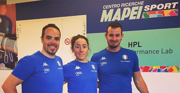Peter Fill, Sofia Goggia und Dominik Paris im Mapei Sport Zentrum in Oligate Olona (©Mapei Sport Zentrum / Facebook)