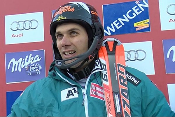 Mario Matt führt nach dem 1. Durchgang beim Slalom in Wengen