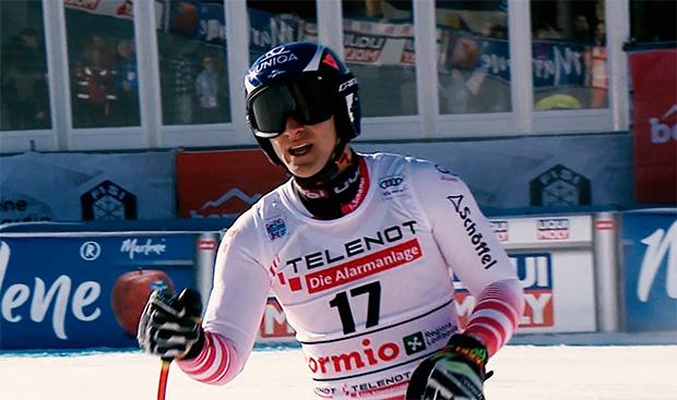 Matthias Mayer bei 2. Stelvio Abfahrt in Bormio auf Platz fünf