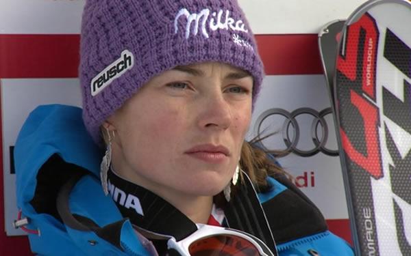 Tina Maze führt beim Riesenslalom von St. Moritz