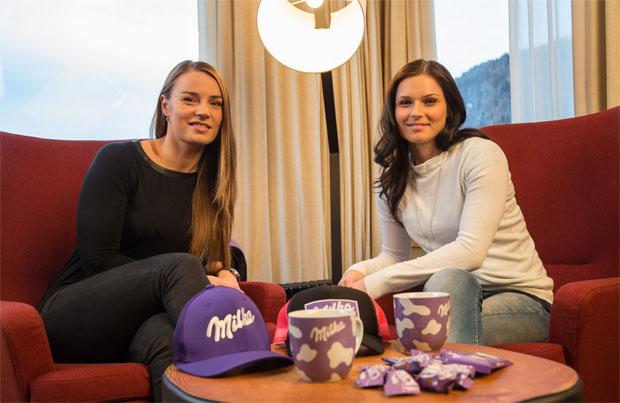 © Kraft Foods  /  Süße Momente: Tina Maze trifft Anna Fenninger