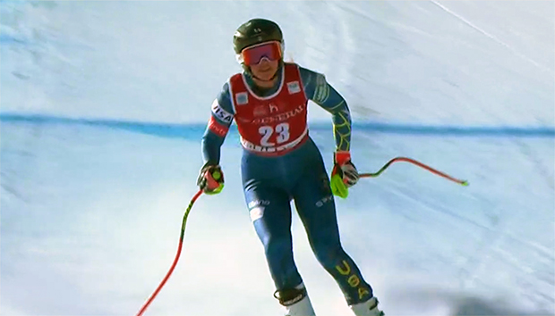 Trotz der schweren Verletzung fuhr Alice McKennis Duran selbständig ins Ziel