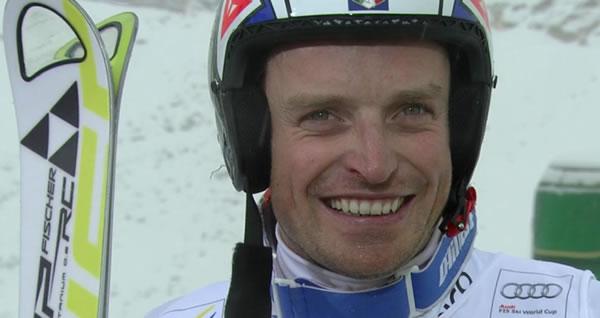 Manfred Mölgg beim Riesentorlauf in Sölden auf Rang zwei