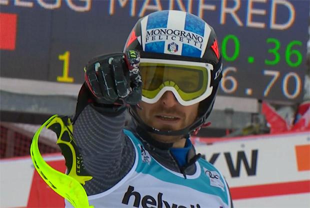 Manfred Mölgg freut sich im Adelboden-Slalom über Platz 2