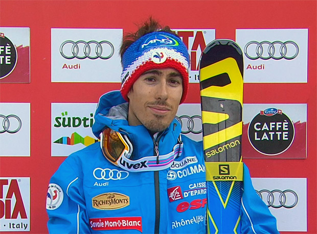 Victor Muffat-Jeandet liegt nach dem 1. Riesenslalom-Durchgang von Alta Badia in Führung