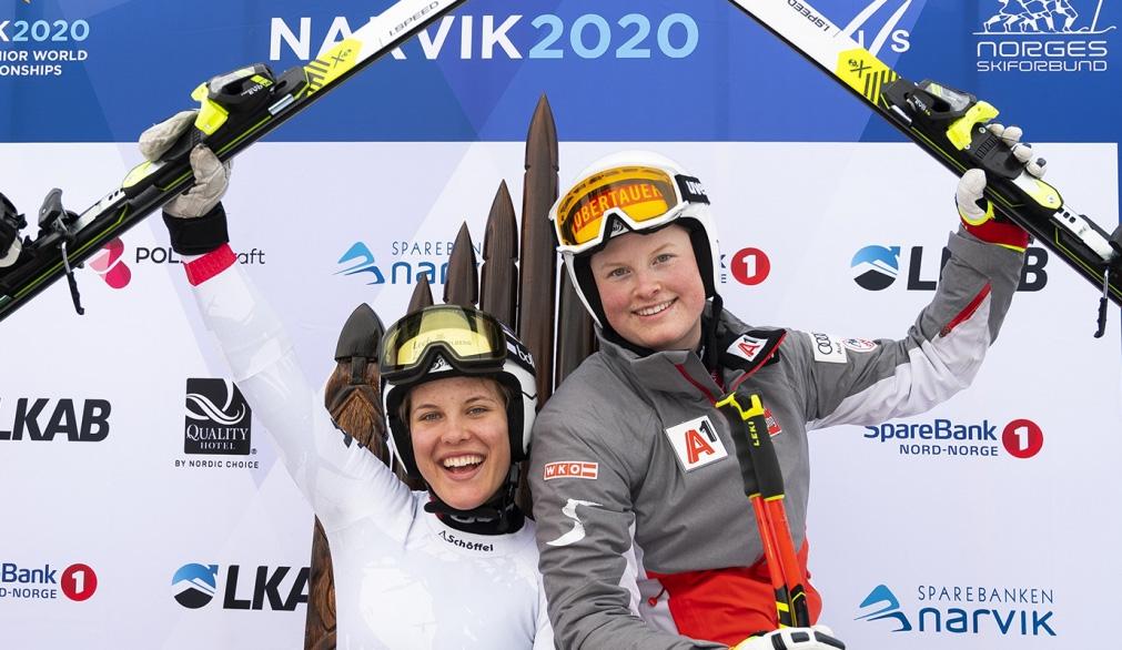 Magdalena Egger und Lisa Grill sorgen für erneuten ÖSV Doppelsieg bei der Junioren-WM (Photo: © Jan-Arne Pettersen/narvik2020.no)