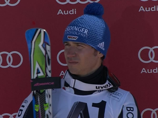Neureuther beim Slalom in Schladming (AUT) auf dem Podest