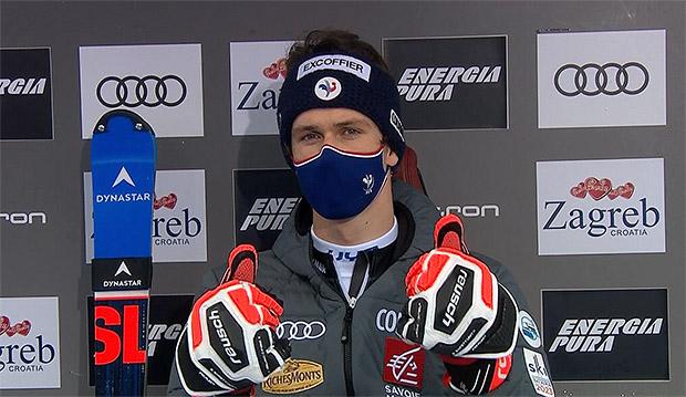 Clement Noel führt nach dem 1. Slalom Durchgang in Zagreb