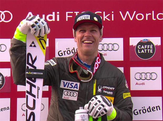 Steven Nyman freut sich über seinen dritten Gröden-Sieg