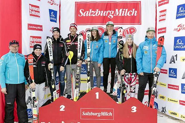 ÖSV-Nachwuchsreferent Mag. Gert Ehn mit den österreichischen Schülermeistern (v.l) Olivier (SL), Egger (SG), Feurstein (RSL,SL,KO) Öbster (RSL), Stock (KO), Auer (SL) und Broschek (SG). (Foto: Peter Lintner)