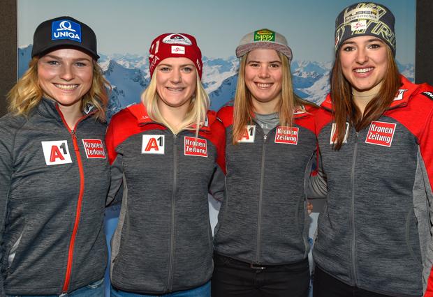 Das ÖSV Slalom-Quartett v.l.: Bernadette Schild, Katharina Truppe, Katharina Liensberger und Katharina Huber.  (Foto: Tirol Werbung / Erich Spiess)