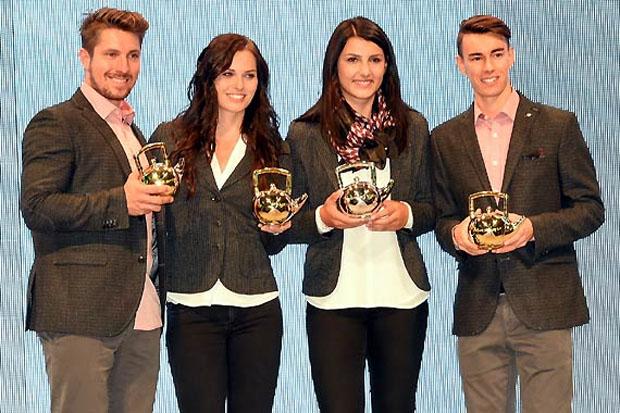 Die Teekannen-Gewinner Marcel Hirscher, Anna Veith, Stephanie Venier und Stefan Kraft. (Foto: Erich Spiess)