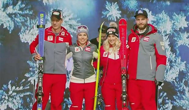 Hannes Reichelt, Nicole Schmidhofer, Eva-Maria Brem und Marco Schwarz.