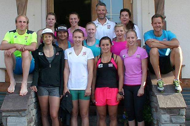 Die Europacup Damen absolvierten zuletzt einen Kondikurs beim Bräuwirt. (Fotos: ÖSV)