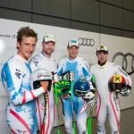 Matthias Mayer, Klaus Kröll, Otmar Striedinger und Marcel Hirscher im Audi Windkanal (Foto: Audi AG)