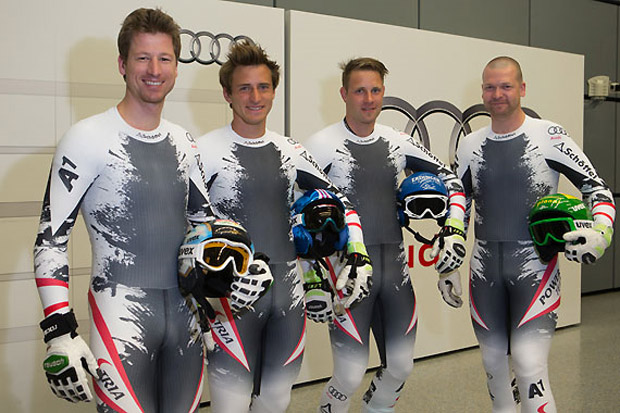 Hannes Reichelt, Matthias Mayer, Romed Baumann und Klaus Kröll im Audi Windkanal. (Foto: Audi AG)