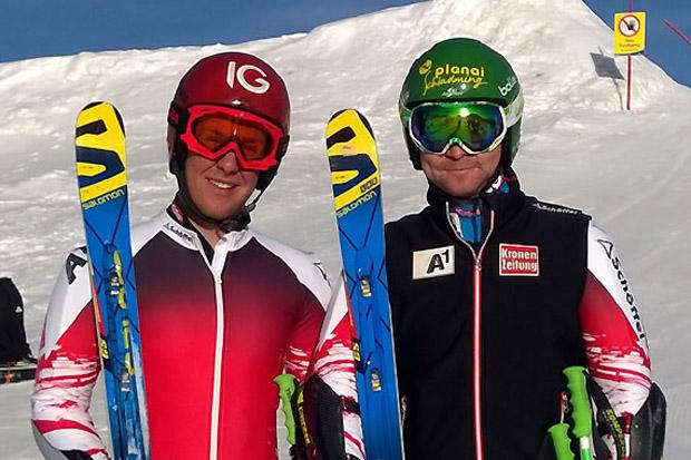 Teamwork: Abfahrts-Weltcupsieger Klaus Kröll (JG 1980) und Nachwuchshoffnung Clemens Nocker (li., JG 1996) trainierten gemeinsam am Dachstein. (Foto: ÖSV)