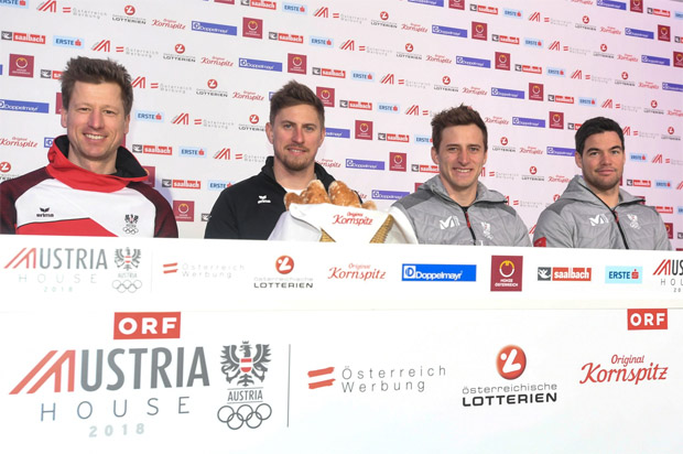ÖSV-Olympia-Abfahrtsteam 2018: Hannes Reichelt, Max Franz, Matthias Mayer, Vincent Krichmayr . (© ÖOC-Medien / Olympia.at)