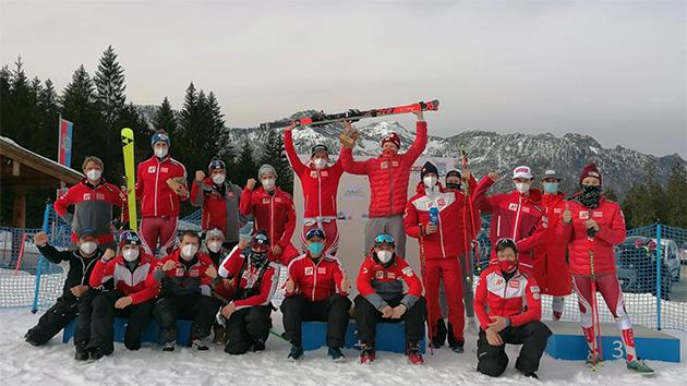 Beim Europacup-Riesentorlauf in Berchtesgaden konnte sich der ÖSV über einen Doppelsieg freuen. Dominik Raschner gewann vor seinem Teamkollegen Stefan Brennsteiner (Foto: © ÖSV)