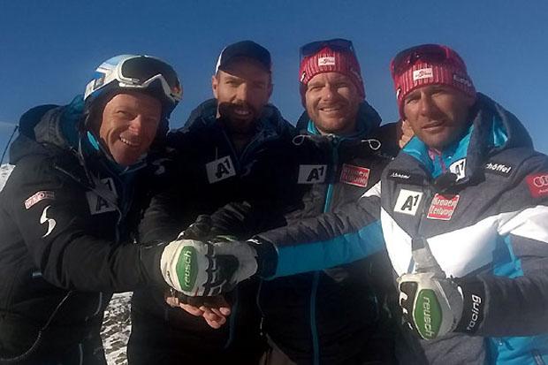 Koordinator Jürgen Graller mit den Technik-Gruppentrainern Martin Kroisleitner (Europacup), Benjamin Prantner (Nachwuchs) und Marko Pfeifer (Weltcup). (Foto: ÖSV)