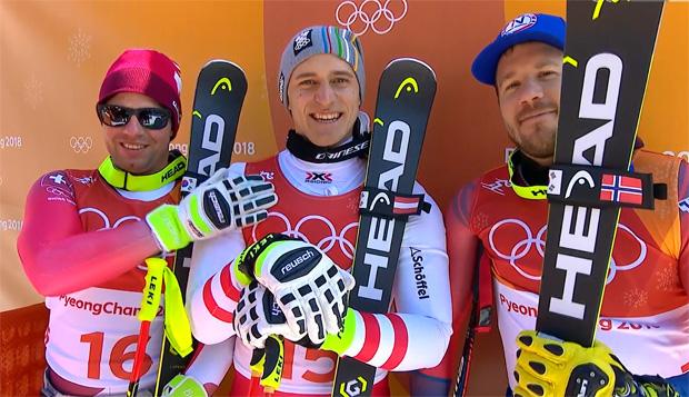 Beat Feuz, Super-G Olympiasieger Matthias Mayer und Kjetil Jansrud
