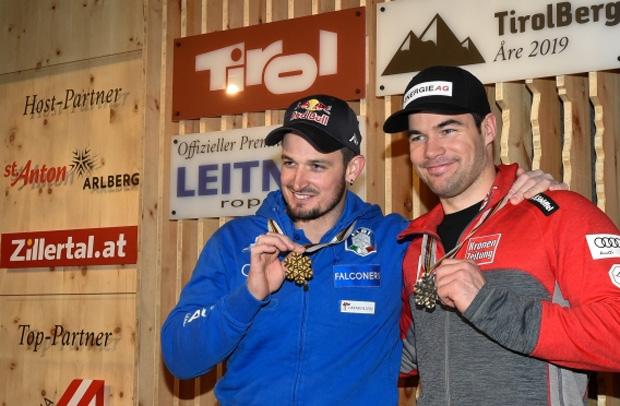 Gold und Silber im TirolBerg: Super-G-Weltmeister Dominik Paris (l.) und der zweitplatzierte Vincent Kriechmayr. (Foto: Tirol Werbung / Erich Spiess)