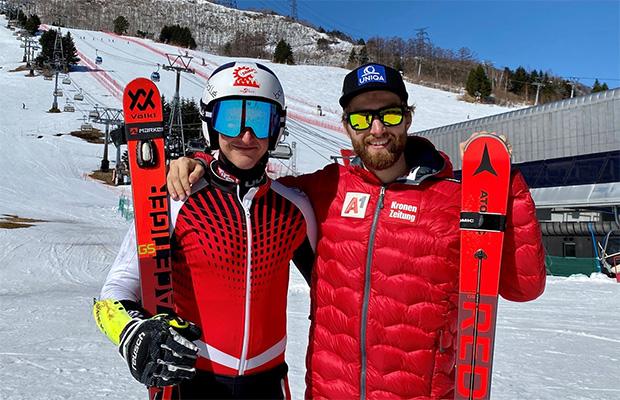 Die zwei Kärntner Marco Schwarz und Adrian Pertl bestreiten sowohl den Riesentorlauf als auch den Slalom in Naeba. (Foto: © ÖSV/Aichner)