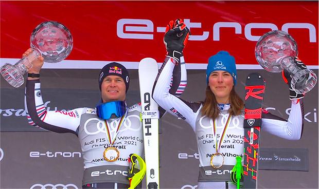 Die Gewinner der großen Weltcupkugel: Alexis Pinturault und Petra Vlhová