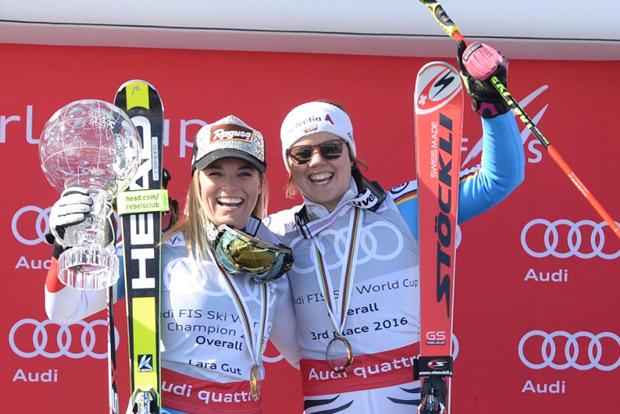 © Ch. Einecke (CEPIX) / Gesamtweltcupsiegerin Lara Gut und Viktoria Rebensburg