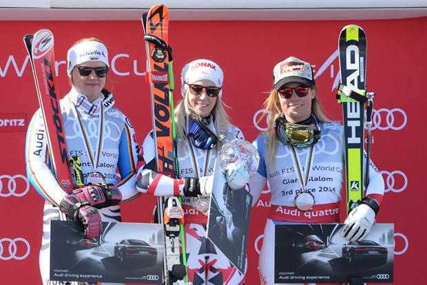 © Ch. Einecke (CEPIX) / Viktoria Rebensburg, Eva-Maria Brem und Lara Gut