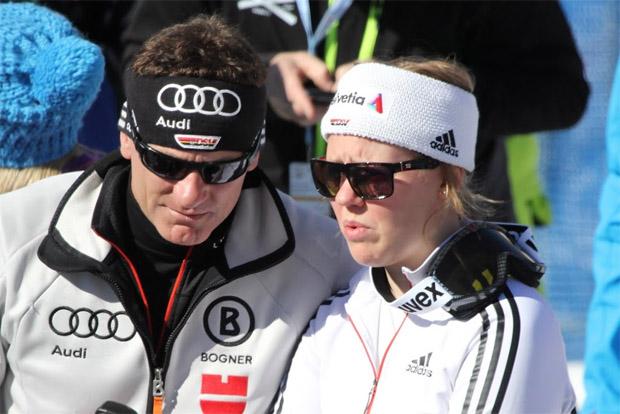 DSV Alpindirektor Wolfgang Maier und Viktoria Rebensburg