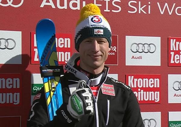 Hannes Reichelt führt beim Riesenslalom in Schladming
