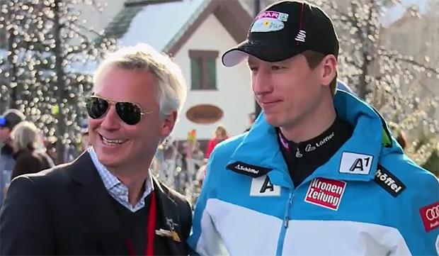 Hannes Reichelt feiert WM Titel in der Arlberg Lounge