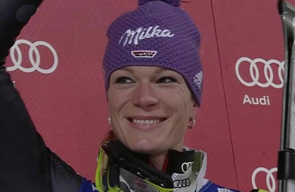 Maria Höfl-Riesch beim Slalom in der Flachau (AUT) Zweite hinter Schild