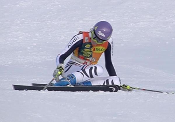 Maria Höfl Riesch konnte in diesem Jahr, nach guter Fahrt, bereits zum achten Mal ein Rennen nicht beenden.